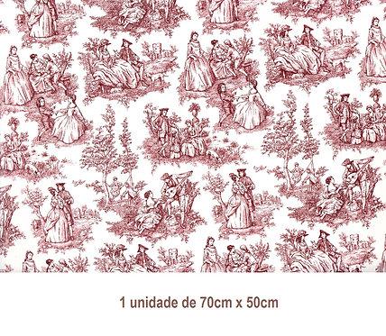 Tapete - Toile de Jouy Vermelho (70x50cm)