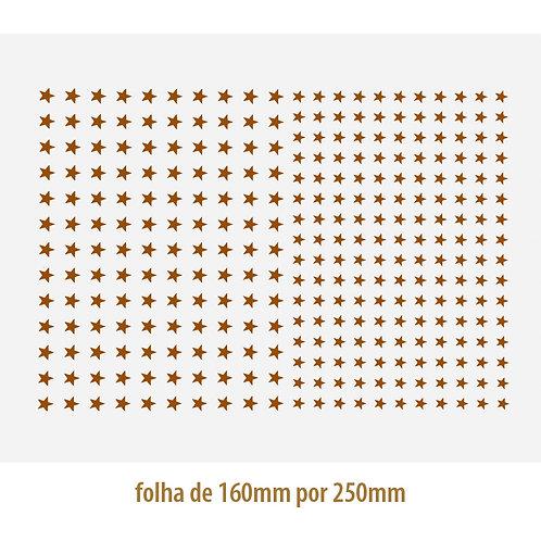 Decalque em Platina Estrela 03 - com 0,6 e 0,7cm