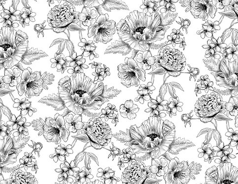 Tapete - Flor de Papoula Canetado (70x50cm)
