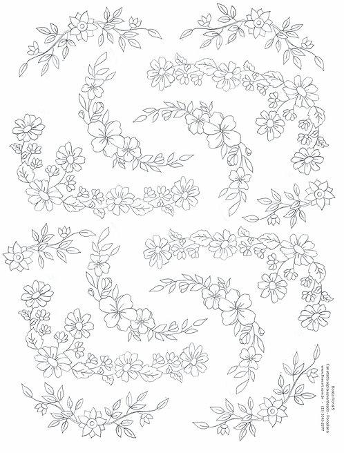 Decalque Contorno Borda Floral 06