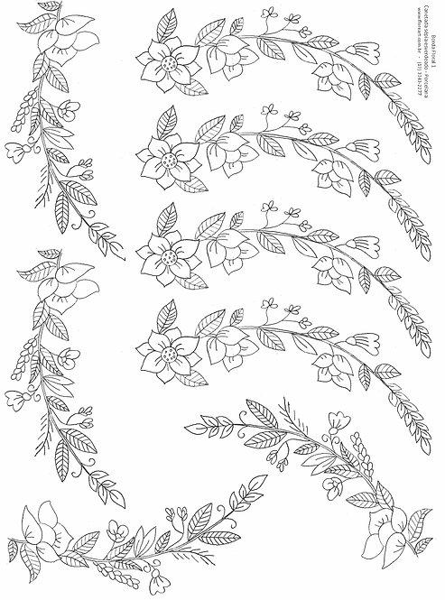 Decalque Contorno Borda Floral 01