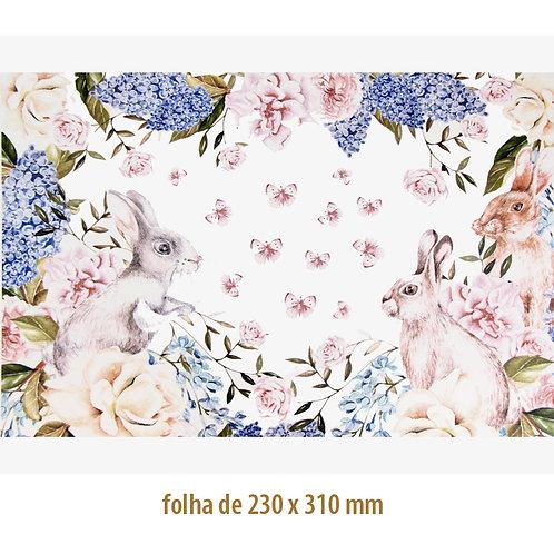 Coelhos da Páscoa com Flores e Borboletas