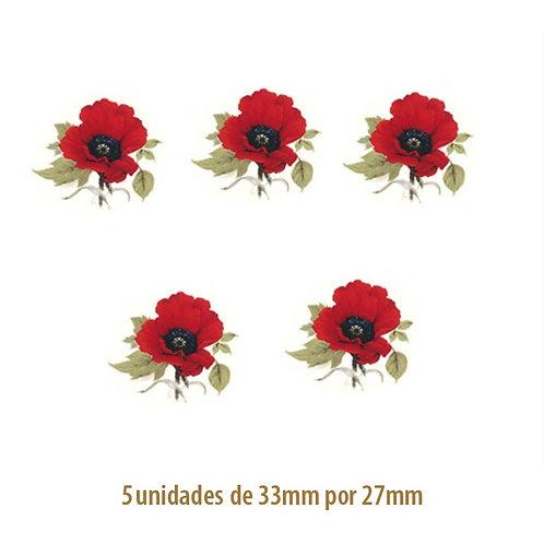 Red Poppy - 33x27mm