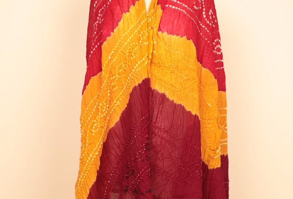 Yellow-Red Multicolour Bandhani Dupatta