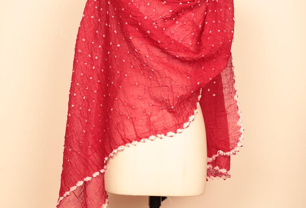 Crimson Red Bandhani Dupatta