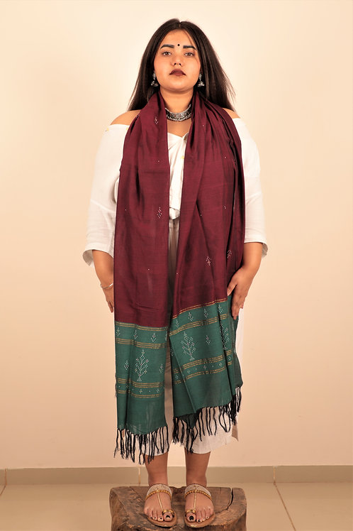 Pine Green and Eggplant Stole