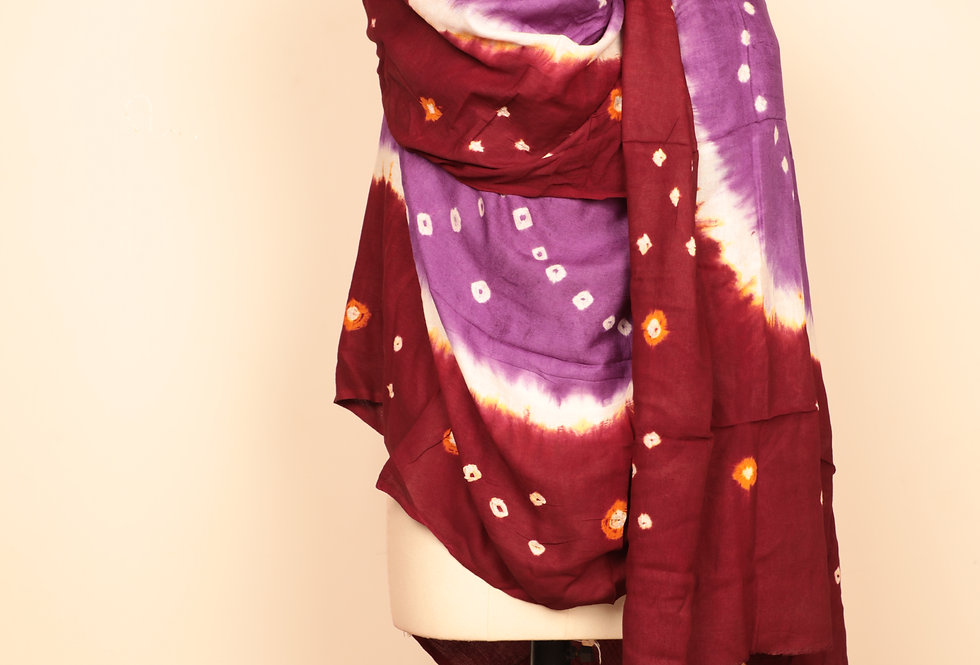 Purple-Berry Brown Bandhani Dupatta