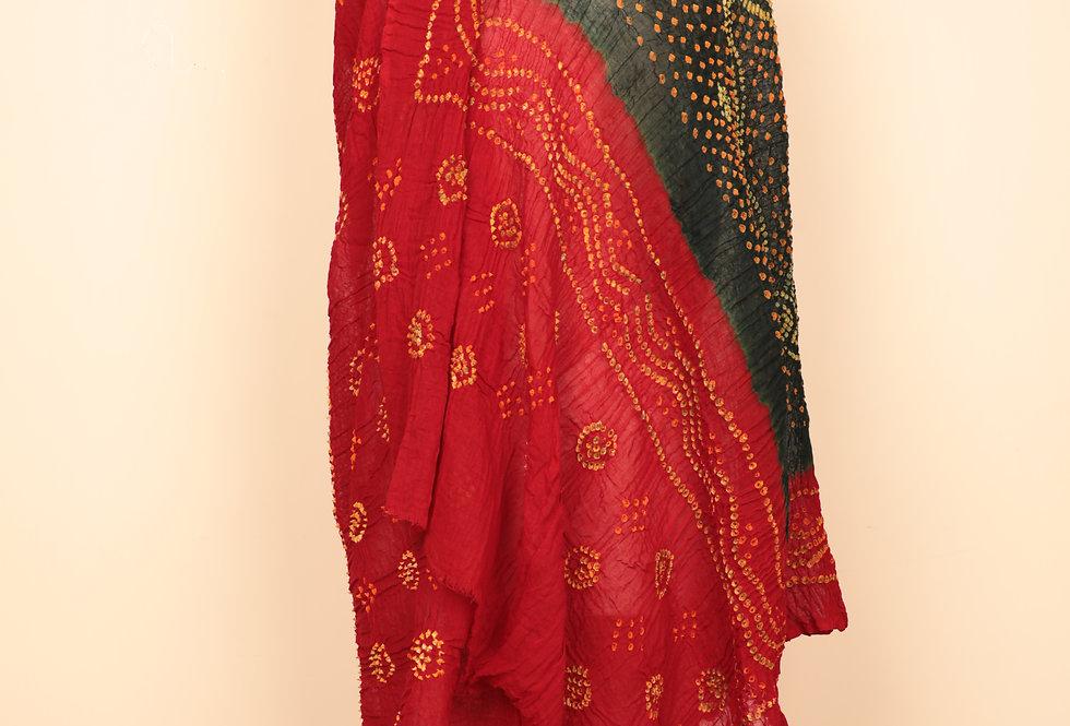 Scarlet Red-Green Bandhani Dupatta