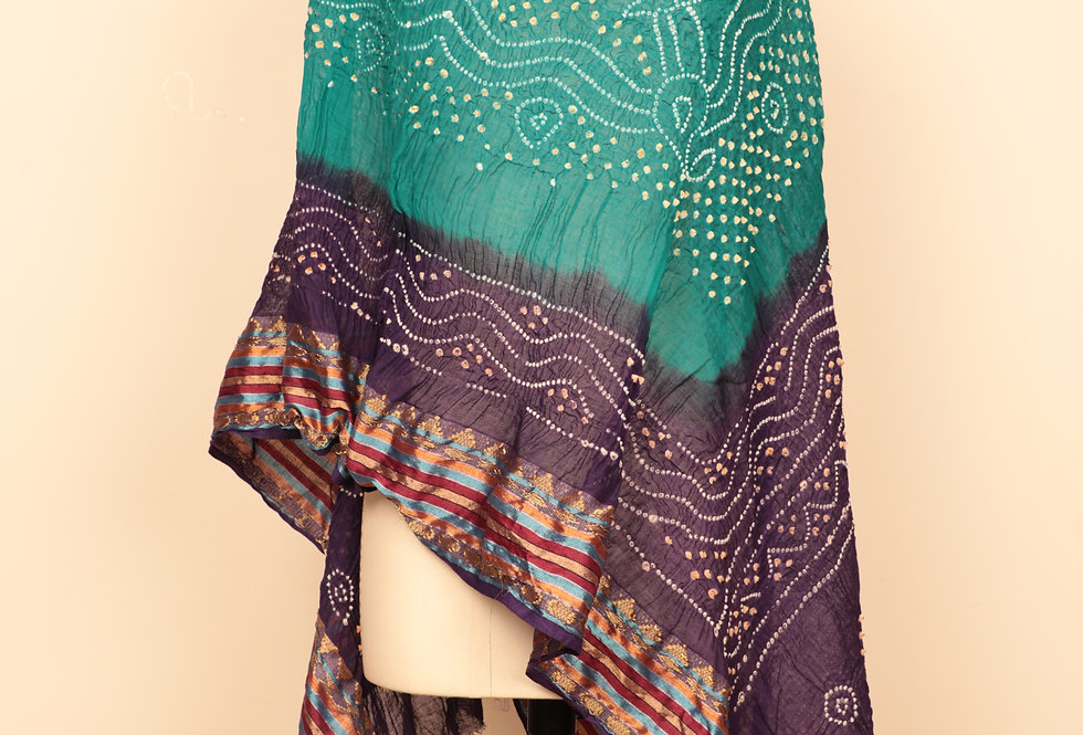 Mulled Wine-Elf Green Bandhani Dupatta