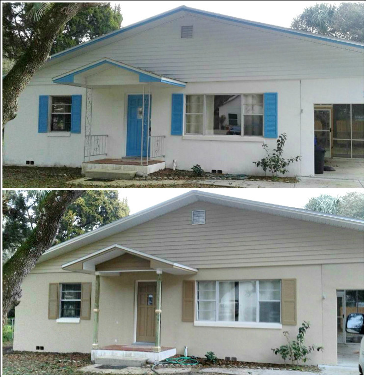 Exterior before and after