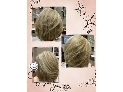 白髪ぼかしハイライトでワンランク上のオシャレなヘアカラー(✿◠‿◠)