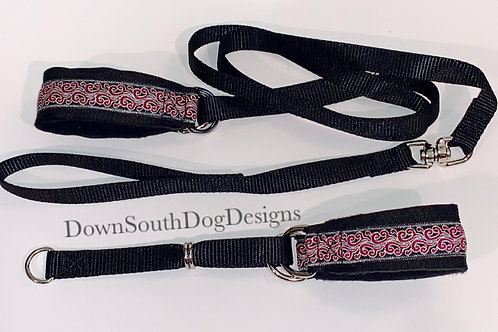 Martingale: Red and Silver Swirl