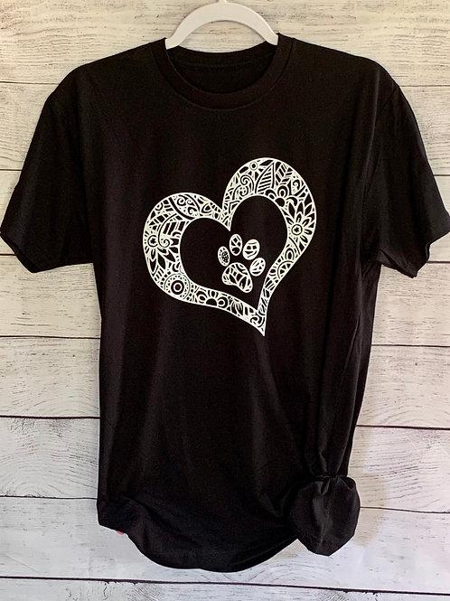 T-Shirt:  Pawprint Heart Mandala