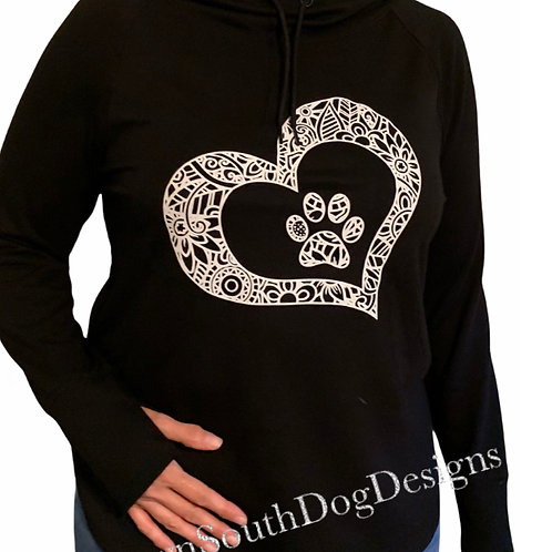 Hoodie with Pawprint Heart Mandala