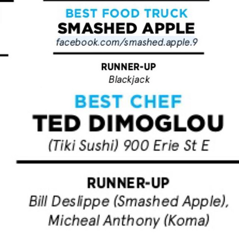 So the city of Windsor and surrounding area voted us best food truck and me second best chef. Thank you for all the support.jpg