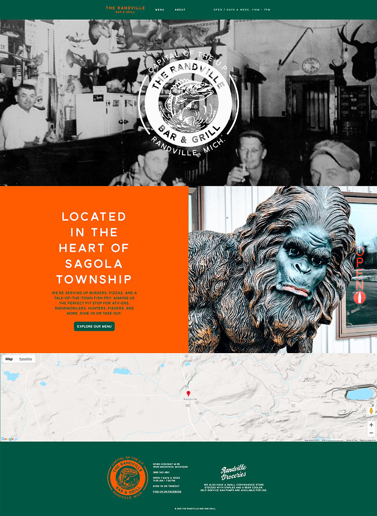 The Randville Website Landing Page