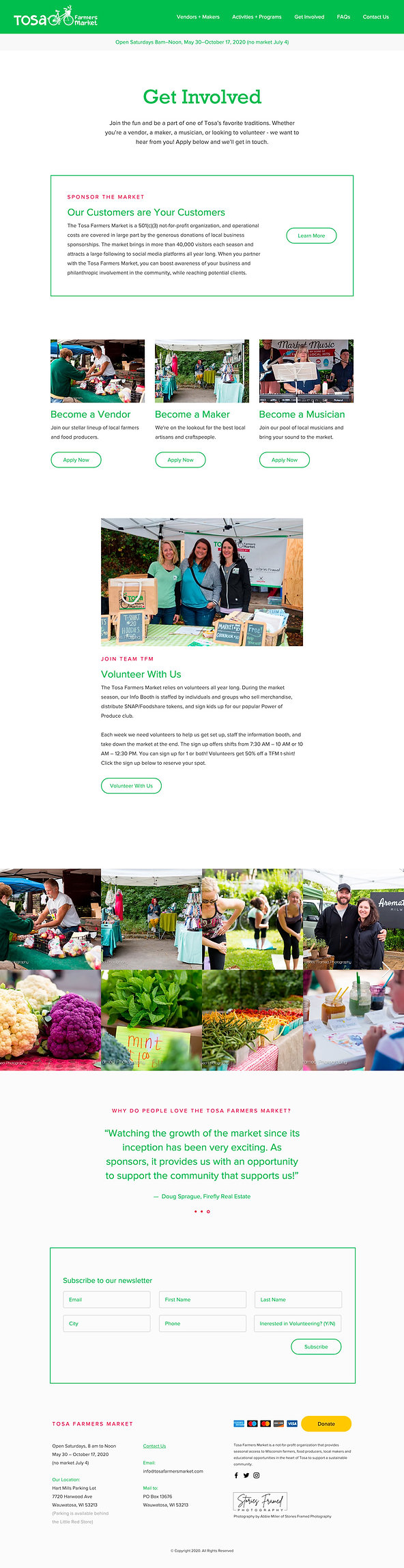 Tosa Farmers Market Website Get Involved Page