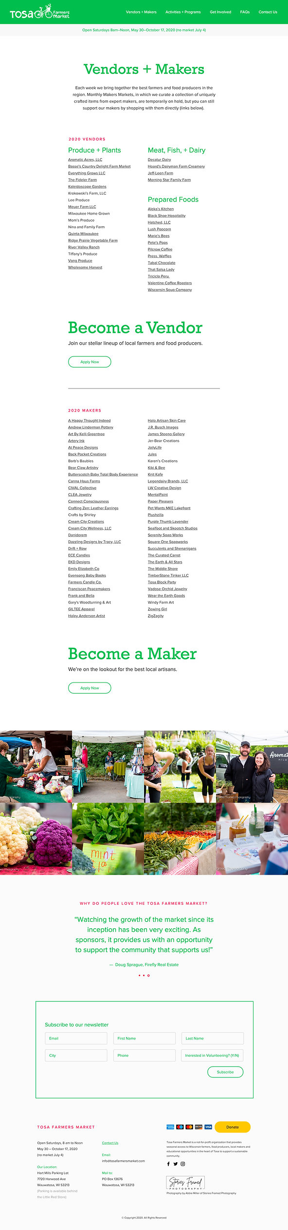 Tosa Farmers Market Website Vendors and Makers