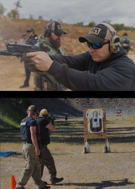 Instructors guiding men through firearm training