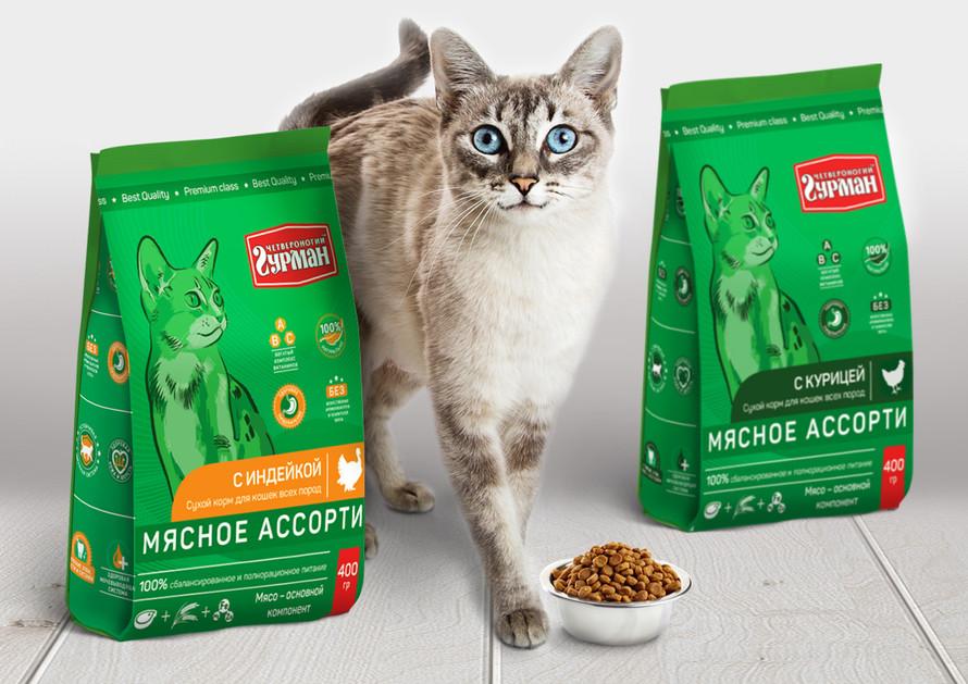 Дизайн упаковки сухого корма для кошек