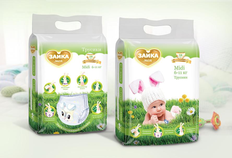 Дизайн логотипа и упаковки детских подгузиков