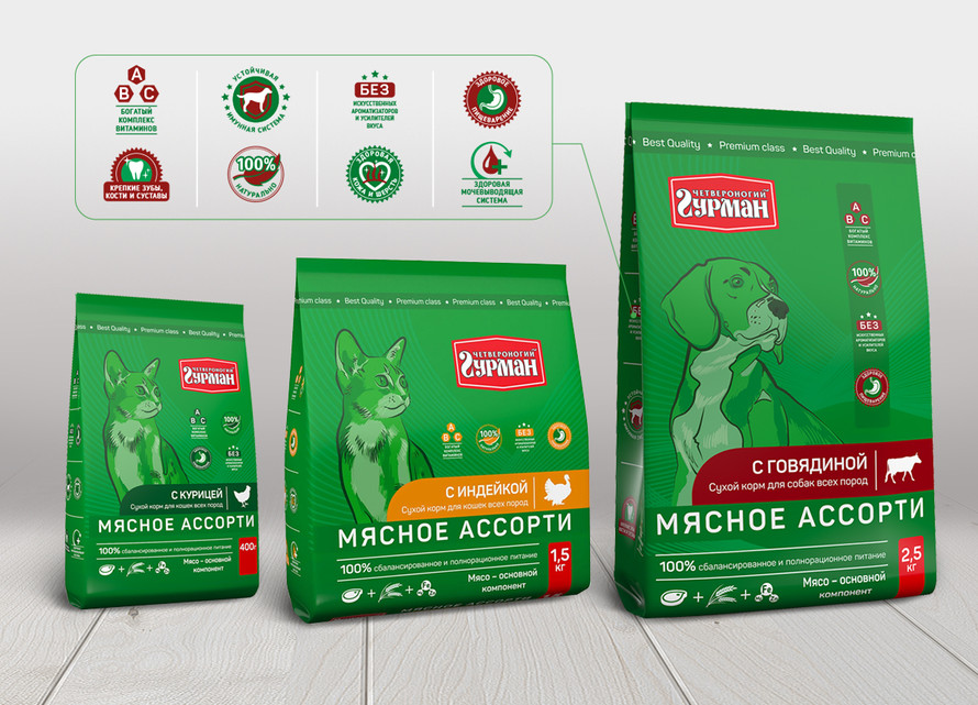 Дизайн упаковки сухого корма для животных