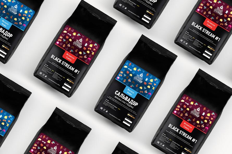 Дизайн серии этикеток кофе