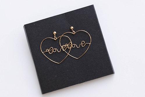 Серьги LOVE/ покрытие золото