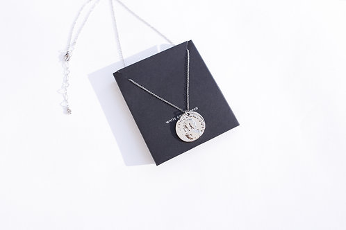 Подвеска медальон KAMA/ покрытие белое золото