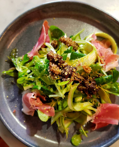 Asparagus Salad with Morels, Prosciutto, Preserved Citrus