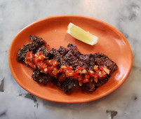 Grilled Beef Riblets, Roman Spices, Salsa Criolla