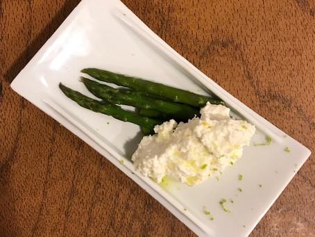 Burrata met groene asperges