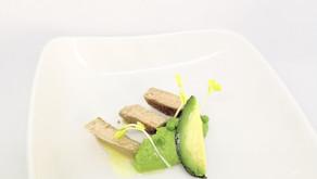 Crème van erwt en avocado, kalfsfilet