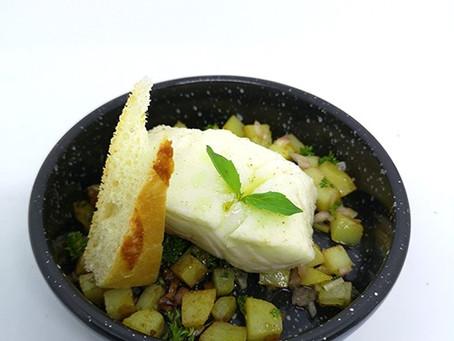 Kabeljauw in olijfolie gegaard op 47°C.