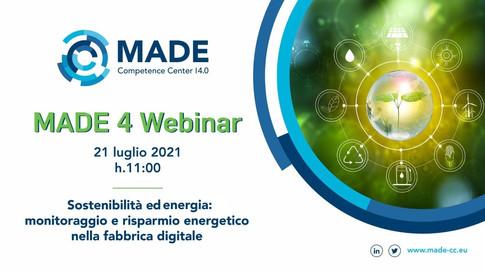 MADE 4 Webinar - Sostenibilità ed energia: Monitoraggio e risparmio energetico nella fabbrica digitale