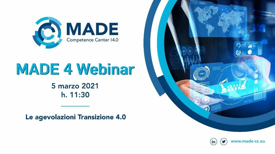 MADE 4 Webinar: Le agevolazioni Transizione 4.0