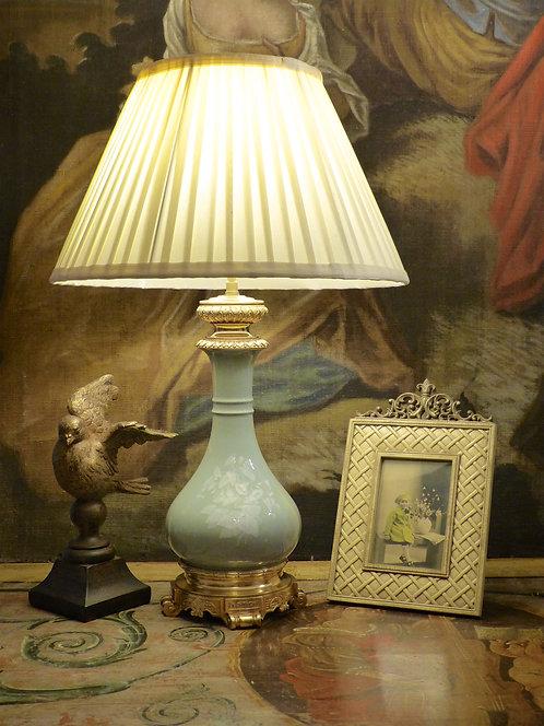 Lampe porcelaine céladon et bronze, époque XIXe Napoléon III