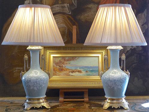 Paire de lampes céladon et bronze, époque XIXe