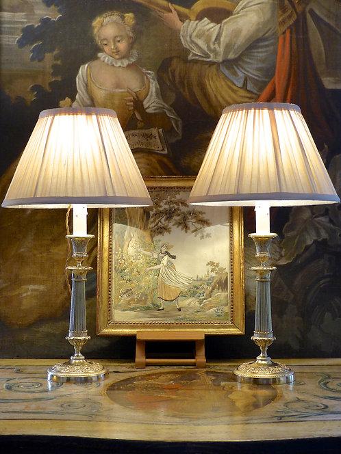Paire de bougeoirs / lampes Restauration, bronze doré, début XIXe