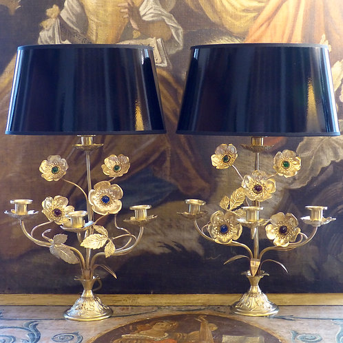 Paire de lampes chandeliers à roses églantines, XIXe