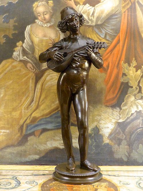 Statue en bronze Le Chanteur Florentin, Paul Dubois, fonte Barbedienne (H. 77cm)