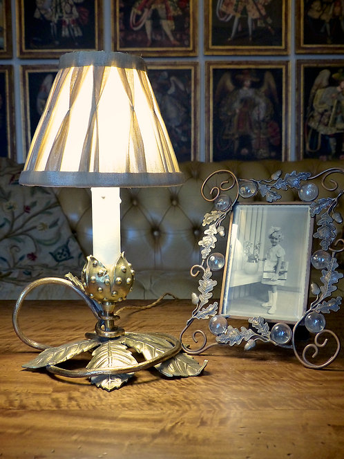 Lampe bougeoir naturaliste Art Nouveau, thème du marronnier