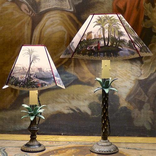 Paire de lampes bougeoirs orientalistes en forme de palmier