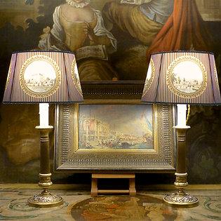 Paire de lampes bougeoirs Restauration, bronze, début XIXe