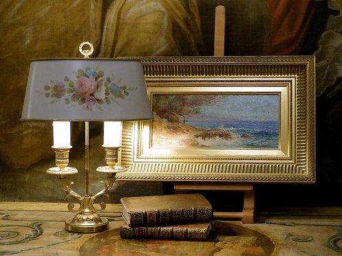 Lampe bouillotte ovale 2 lumières, décor floral