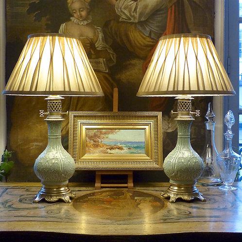 Paire de lampes porcelaine céladon et bronze, époque XIXe