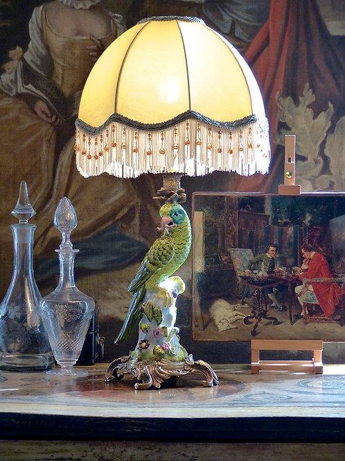 Bougeoir Perroquet monté en lampe, XXe