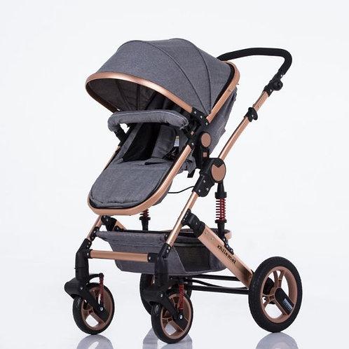 Gold Aluminum Alloy Frame/Gray fabric Premium style stroller