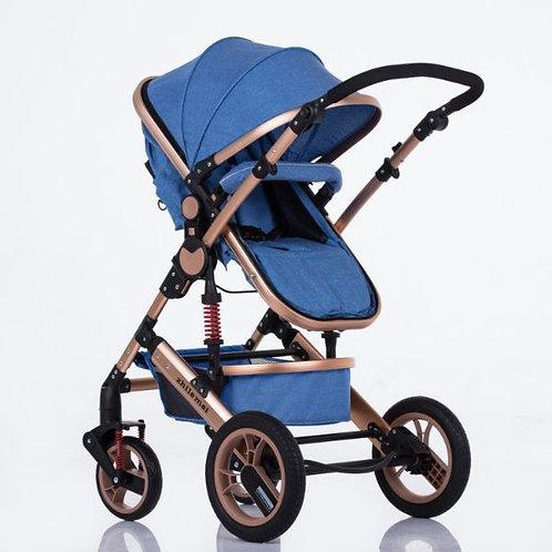 Gold Aluminum Alloy frame/Blue fabric Premium style stroller