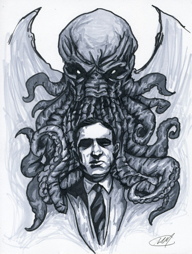 Michael Marker Drawing - Cthulhu and Lov